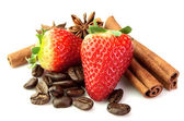 Strawberry with coffee and spice — Stock Photo
