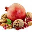 Fetus of a pomegranate and nuts — Foto Stock