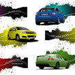 Six grunge Banners with cars. Vector illustration — Stock Vector
