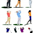Ten Golf players. Vector illustration — Stock Vector #4020279