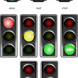 Set of traffic lights. Red signal. Yellow signal. Green signal — Stockvectorbeeld