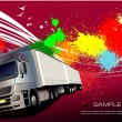 Постер, плакат: Deep purple business background with lorry image Vector illustr