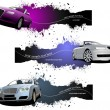 Three grunge Banners with cars. Vector illustration — Stock Vector