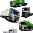 Vector illustration of five trucks — Stock Vector #4020422