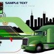 Stock Vector: Abstract hi-tech background with lorry image. Vector