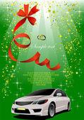 緑の背景に白い車の結婚式。ベクトル イラスト — ストックベクタ