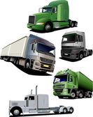 Vector illustration of five trucks — Stock Vector