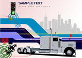 Abstract hi-tech background with lorry image. Vector — Stock Vector