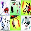 Six sport posters. Football, Ice hockey, tennis, soccer, basketb - Stock Vector
