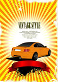 Oranžová svatební pozadí s obrázkem auta. vektorové ilustrace — Stock vektor
