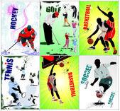 Six sport posters. Football, Ice hockey, tennis, soccer, basketb — Stock Vector
