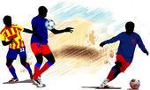 Joueurs de football. illustration de vecteur colorées pour les concepteurs — Vecteur