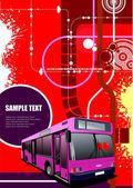 Abstrato base hi-tech com imagem de ônibus da cidade. vetor illustra — Vetorial Stock