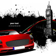 Grunge London images with red car image. Vector illustration — Imagens vectoriais em stock