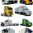 Vector illustration of eight  trucks -  