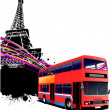 Red double bus with Paris image background. Vector illustration — Stock Vector