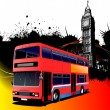 Grunge London images with bus image. Vector illustration — Stock Vector