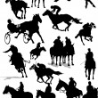 Stock Vector: Sixteen Horse racing silhouettes. Colored Vector illustration f