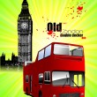 Poster  with tour double Decker bus. Vector illustration — Stock Vector