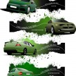 Four green grunge Banners with cars. Vector illustration — Stock Vector