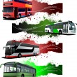 Four  grunge Banners with city buses. Vector illustration — Stock Vector