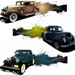Royalty-Free Stock Vector Image: Three banners with old car. Vector illustration