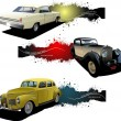 Three banners with old car. Vector illustration - Imagens vectoriais em stock