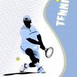 Poster tennis player. Colored Vector illustration for designers - Stock Vector