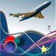 Royalty-Free Stock Vector Image: Aircraft poster with passenger airplane image. Vector illustrati