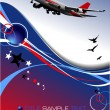 Aircraft poster with passenger airplane image. Vector illustrati — Stock Vector