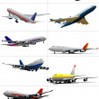 Stock Vector: Ten passenger airplanes. Vector illustration