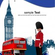 Cover for brochure with London images. Vector illustration — Stock Vector #4617837