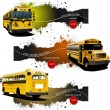 Three grunge banners with Yellow school buses. Vector illustrati — Stock Vector