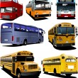 Stock Vector: Seven city buses. Coach. School bus. Vector illustration for des