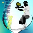 Stock Vector: Eps10 Tennis player poster. Colored Vector eps 10 illustration f