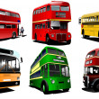 Six city buses. Coach. School bus. EPS10 Vector illustration for - Stock Vector