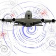 Passenger airplane. On the air. Vector illustration — Imagens vectoriais em stock