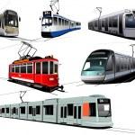 City transport. Six Trams. Vector illustration — Stock Vector