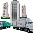 Stock Vector: New Dormitory and two trucks. Vector illustration