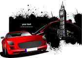 Images de londres grunge avec l'image de la voiture rouge. illustration vectorielle — Vecteur