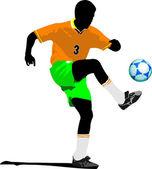 サッカー選手。デザイナーのための色のベクトル図 — ストックベクタ