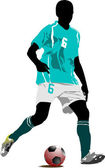 Soccer player. Colored Vector illustration for designers — Wektor stockowy