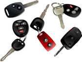 Five Car keys with remote control isolated over white background — Stockvektor