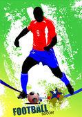 Piłka nożna piłkarz plakat. ilustracja kolorowy wektor d — Wektor stockowy