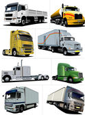 Vector illustration of eight trucks — Stock Vector