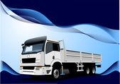голубая волна фон с изображением грузовик. векторные иллюстрации — Cтоковый вектор