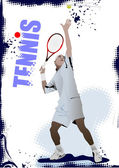 Cartaz de jogador de tênis. ilustração vetorial colorida para designers — Vetor de Stock