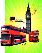 Poster with old London red double Decker bus. Vector illustrati — Stock Vector