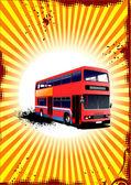 Double Decker red bus. Vector illustration — Stock Vector