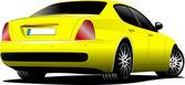 Yellow Car sedan on the road. Vector illustration — Stock Vector